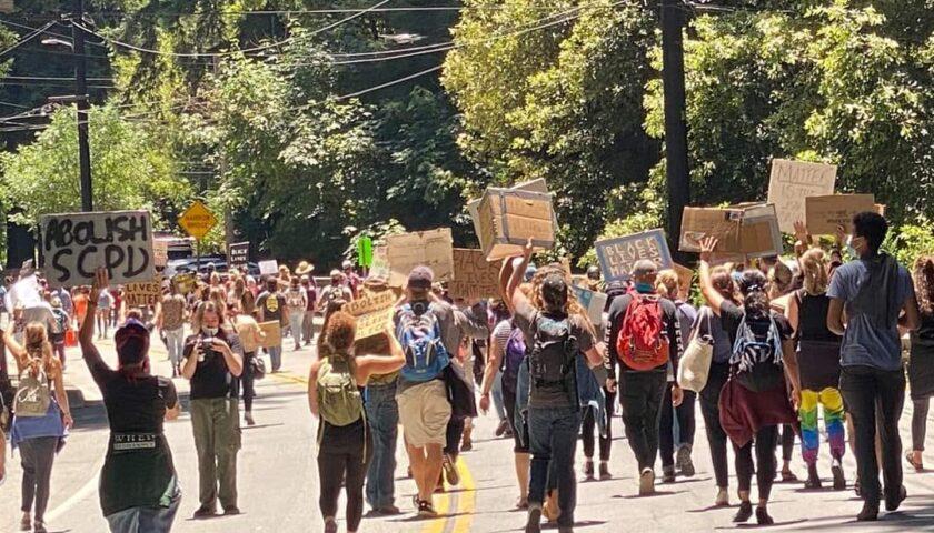 Peaceful protest on Highway 9 Felton to Ben Lomond