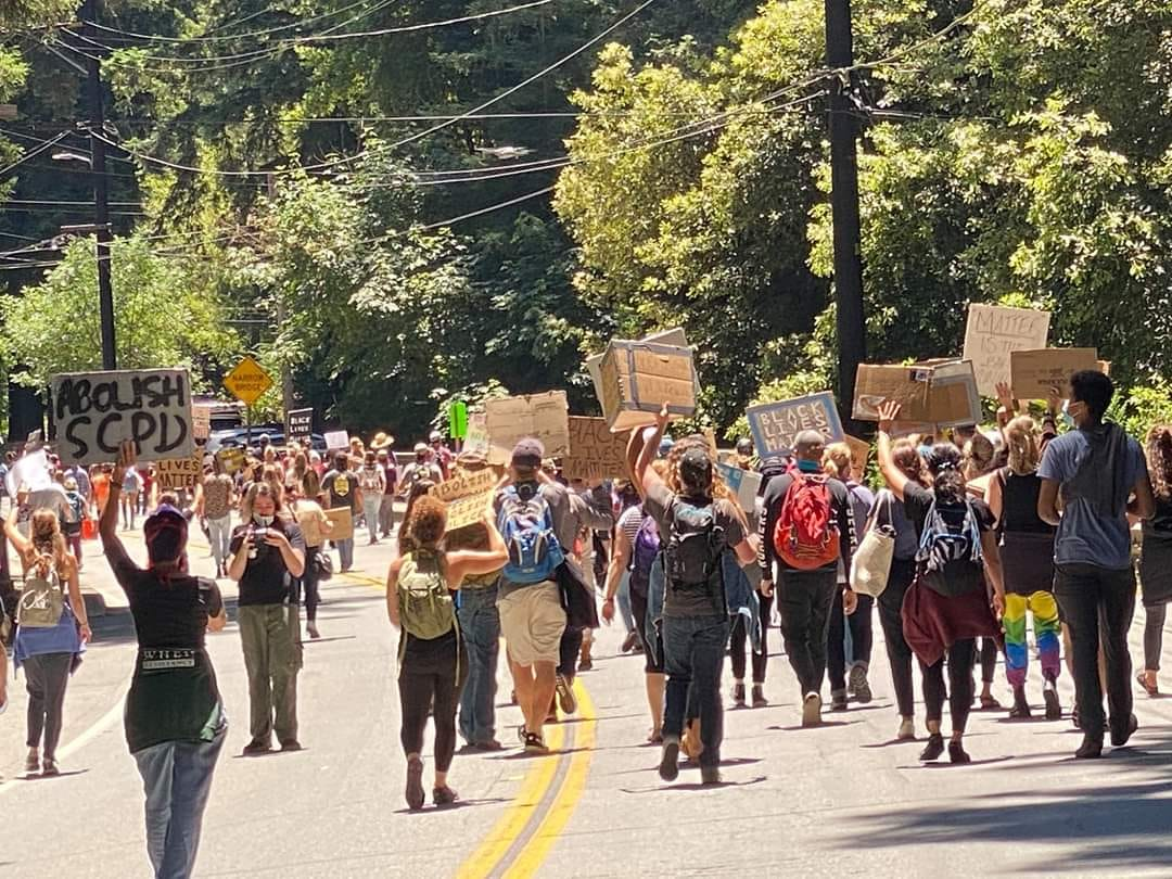 Peaceful protest on Highway 9 Felton to Ben Lomond