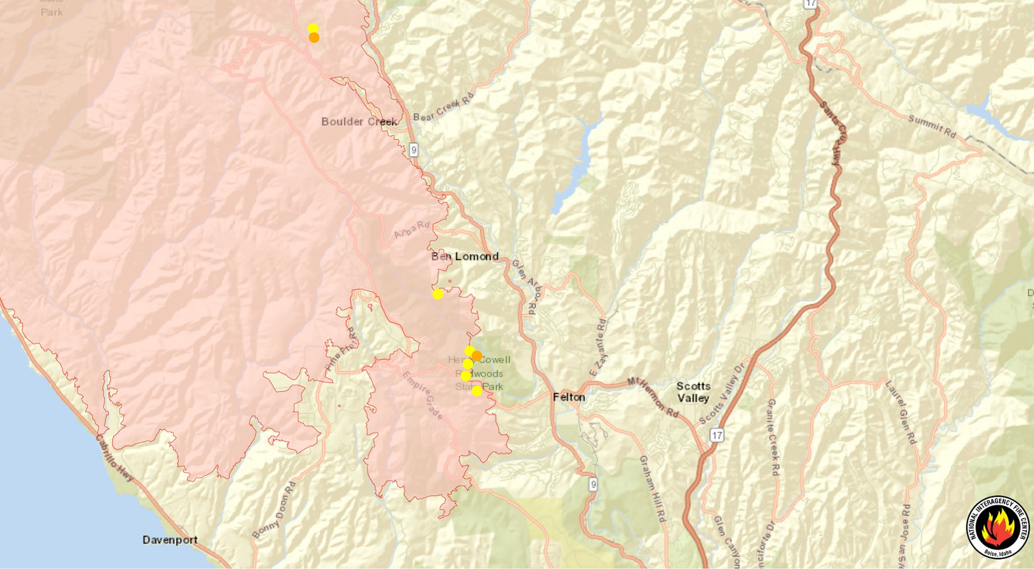 San Lorenzo Valley Fire Map August 27 2020