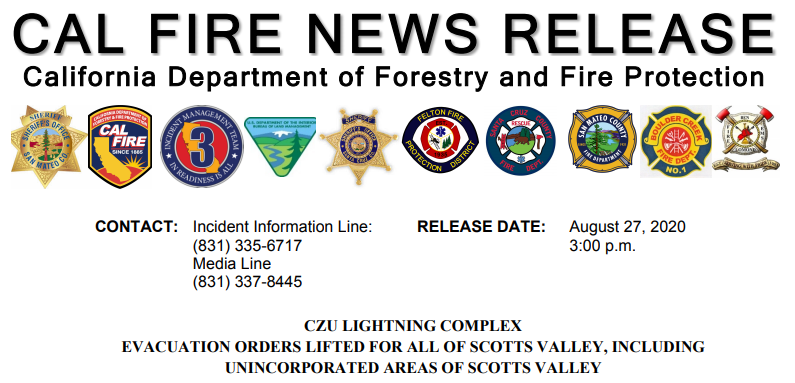 Scotts Valley California evacuation order lifted