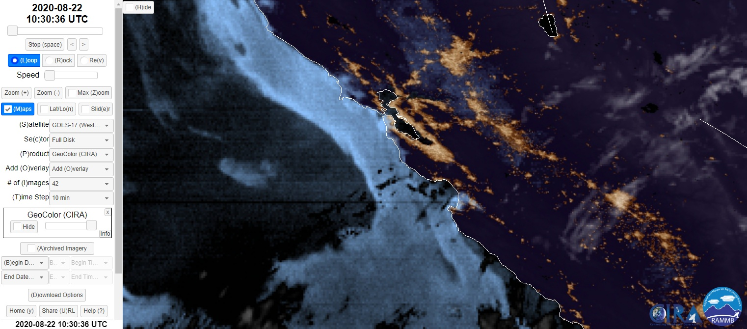 Satellite Imagery CZU August Lightning Complex Fire