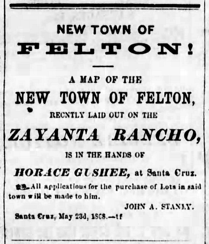 New Town of Felton Zayante Ranco