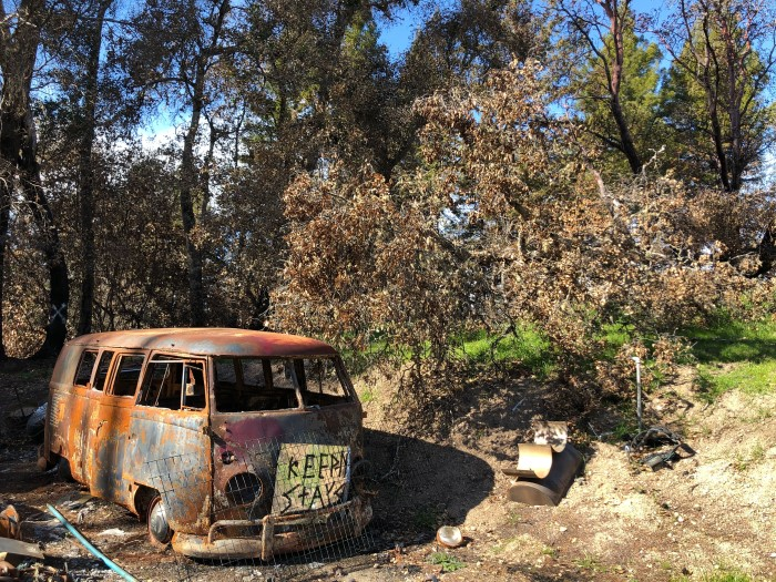 Classic VW bus after the CZU fire