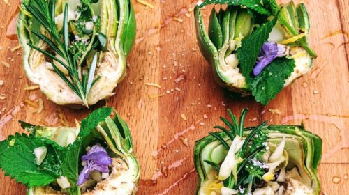 Roasted Artichokes with Sage Blossoms and Lemon Balm